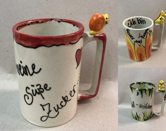 Cup with saying custom cup gift cup with figure snail dragon or turtle