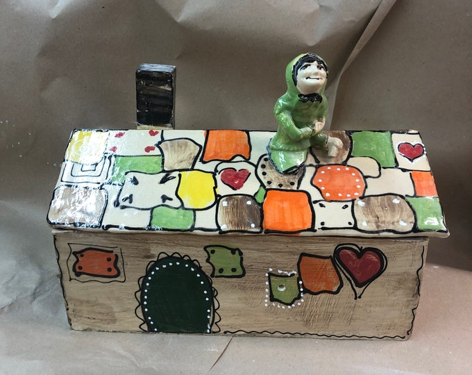 large rustic angular bread pot bread box bread box as a witch's house