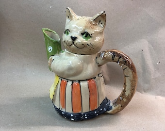 small pot teapot cat ceramic about 0.6 liters