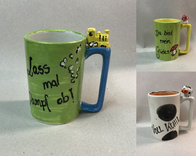 Cup with saying custom cup gift cup with figure KUH mushroom or locomotive