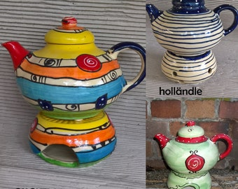 Teapot jug with stick ceramic 1.5 liters