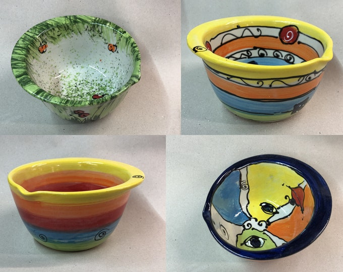 Bowl dough bowl mixing bowl salad bowl with grippy edge ceramic in many patterns