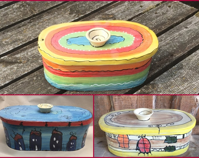 """large rustic oval bread pot bread box bread tin """"chleb"""" ceramic in various patterns"""