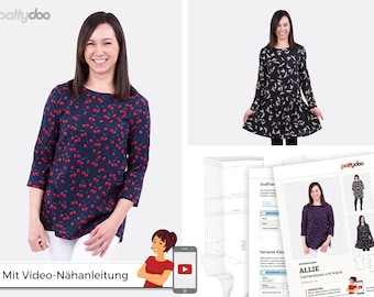 Pattydoo sewing pattern Allie ladies blouse and dress by pattydoo, size 32 - 55, paper cut / paper cut pattern