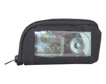 Pump bag, protective cover, sensor, insulin pump, pump pockets, viewing window, black, diabetes type1