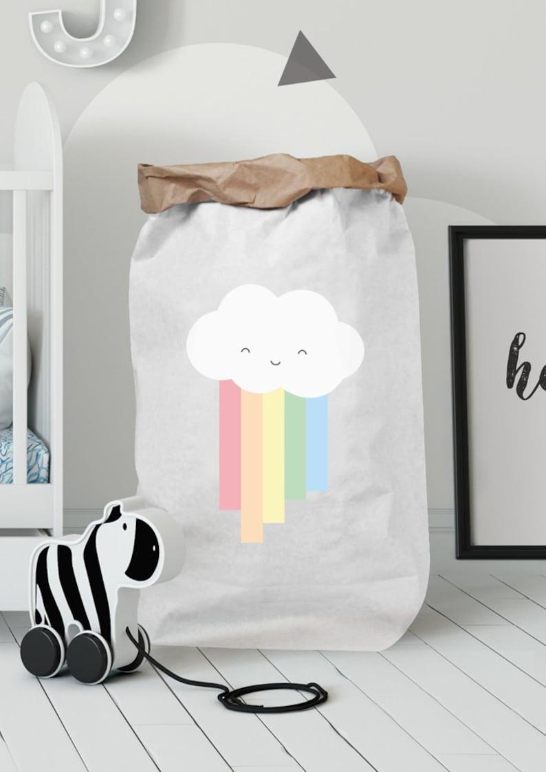 Paper Bag Cloud With Rainbow Kinderzimmerdeko Paper Bag