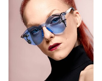 The Holy Visions sunglasses, limited edition customized sunnies by HALO by Viveka Gren with sacred heart & crucifix in gray, blue or pink