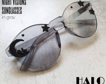 The Night Visions sunglasses, limited edition customized sunnies by HALO by Viveka Gren with stars & moon in gray or blue