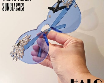 The Take to the Sky sunglasses, one of a kind showpiece sunnies by HALO by Viveka Gren with crystal clouds, plane & bird