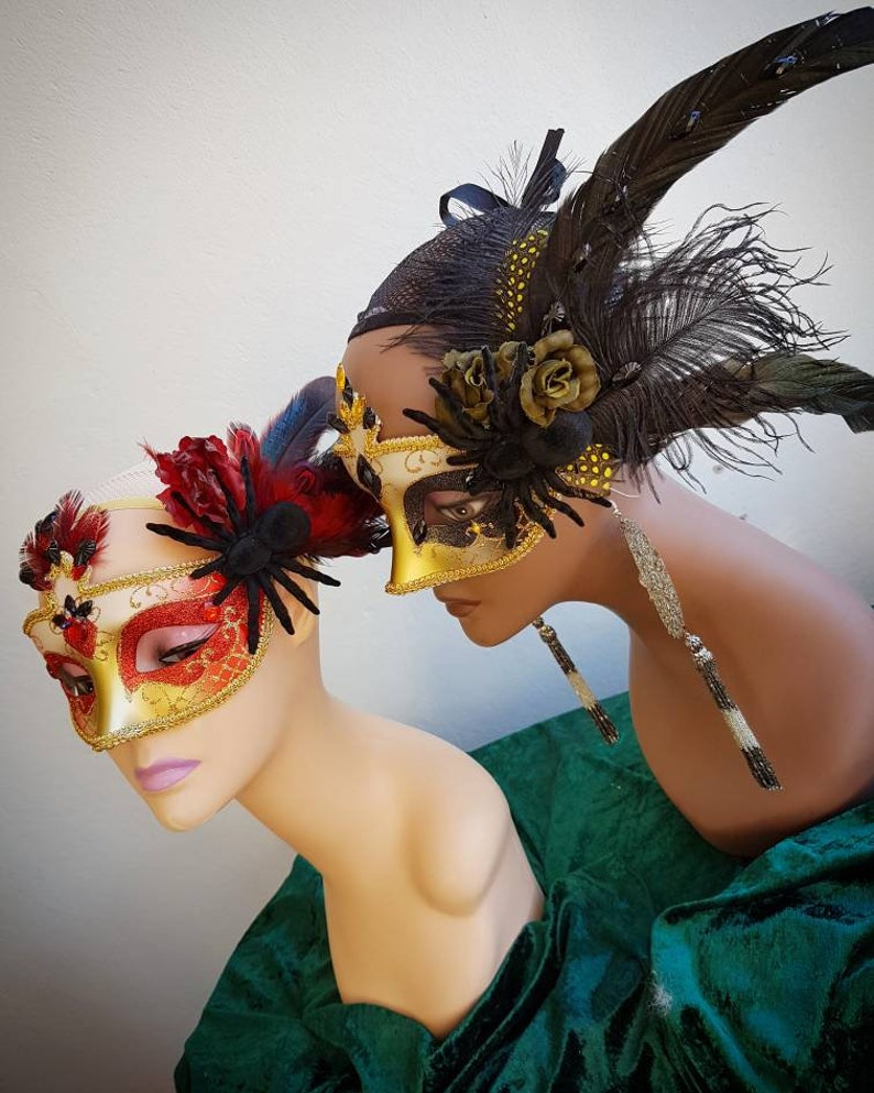 olive The Black Magick Masquerade Mask: Venetian style carnival mask Hand made in black yellow and gold with feathers and rhinestones