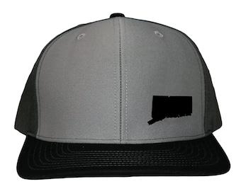 Connecticut Snapback Hat - Grey Black Solid Back b5f8be2f782b