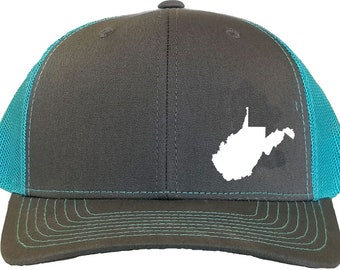 dfbd417412100 West Virginia State Snapback Hat - Grey Aqua