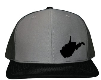 043ebee41e2b8 West Virginia State Snapback Hat - Grey Black Solid Back