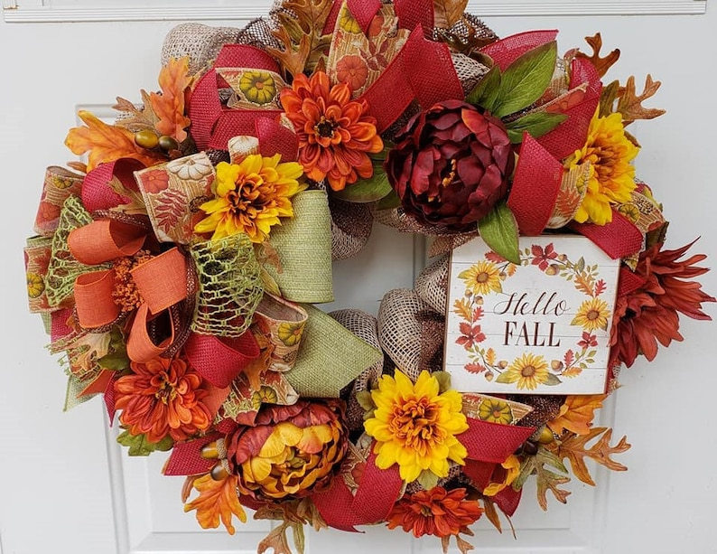 Fall Decor Hello Fall Sign Wall Wreath Floral Wreath Door Wreath Autumn Wreath Fall Deco Mesh Door Hanger Autumn Door Hanger