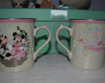 2 Disney Vintage Partner Wedding Mugs with Minnie and Mickey Mouse