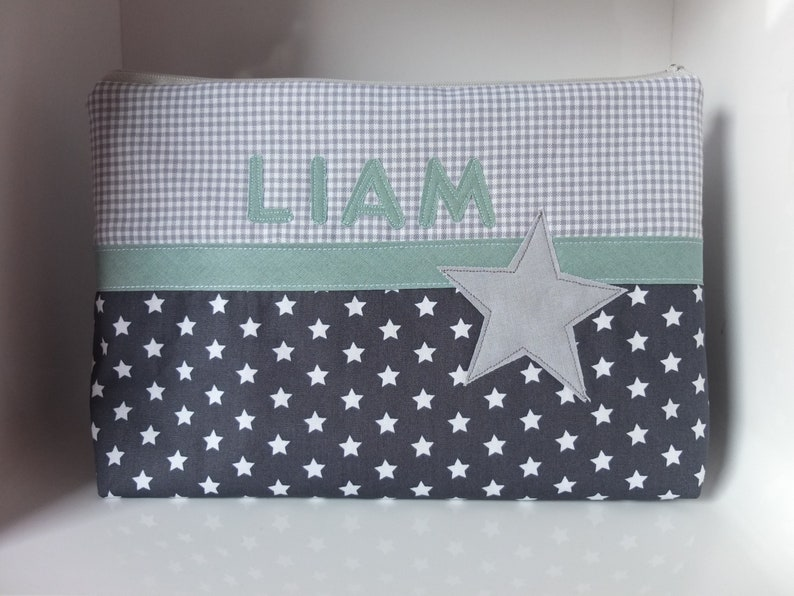 toiletry bag Wrap bag with name  star mint grey  diaper bag toiletry bag with name culture bag with baby and child on the go