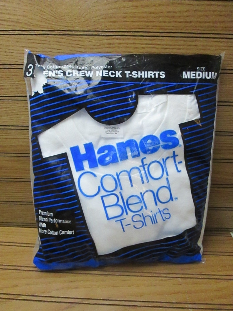Vintage 80s Hanes White T Shirts Crew Neck Medium Blank Tee  79041e4cc