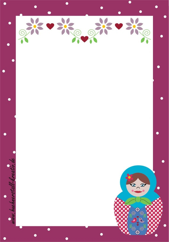 Notepad Din A6/Matryoshka/Russia/Writing Block/Illustration/Print