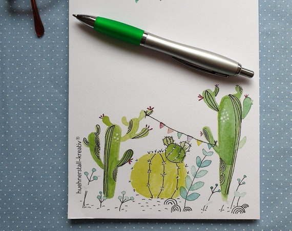 Note pad/writing block/shopping list Din A5 with cactus/cacti/drawing/illustration/print