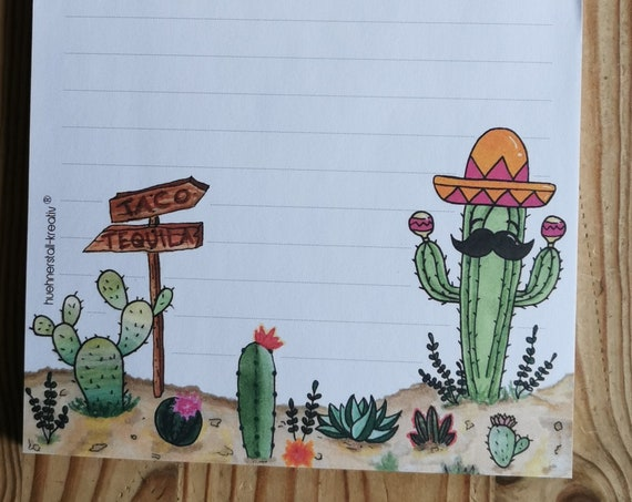 Notepad Din A5 / Mexico / America / Writing Pad / Illustration / Print / Lined / Stationery / Stationary / 50 Sheets