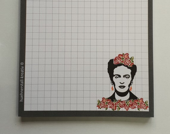Notepad Din A6/Frieda/Kahlo/Writing Block/Illustration/Print