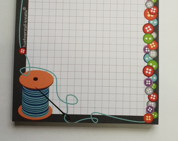 Notepad Din A6/sewing love/sewing/writing block/illustration/print
