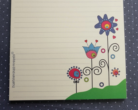 Notepad A5/Flower Meadow/Linked/Flowers/Writing Block/Illustration/Print