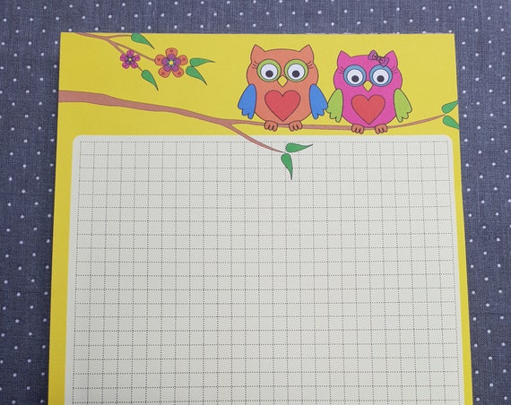 Notepad Din A5/owl/plaid/writing block/illustration/print