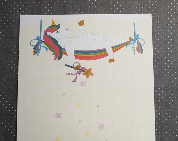 Notepad Din A4/casual unicorn/limited/checkered/letter block/writing paper