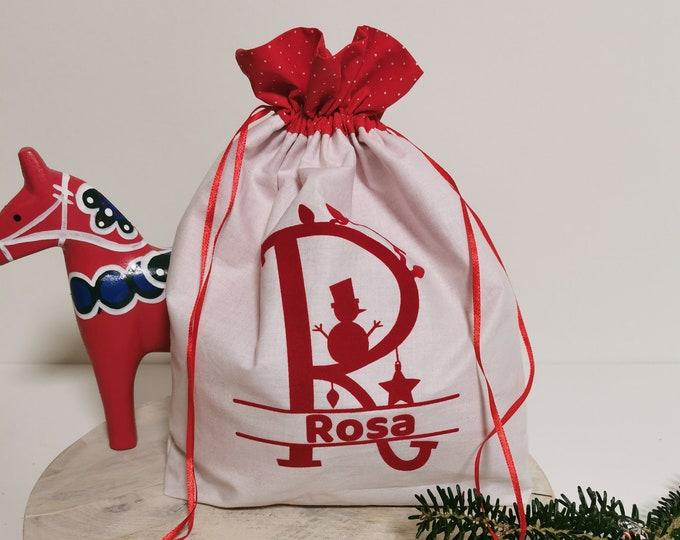 Gift Bag / A- E / Letter / Sack / St. Nicholas / Christmas / Personalized St. Nicholas Bag / Individual / Christmas Bag / Name