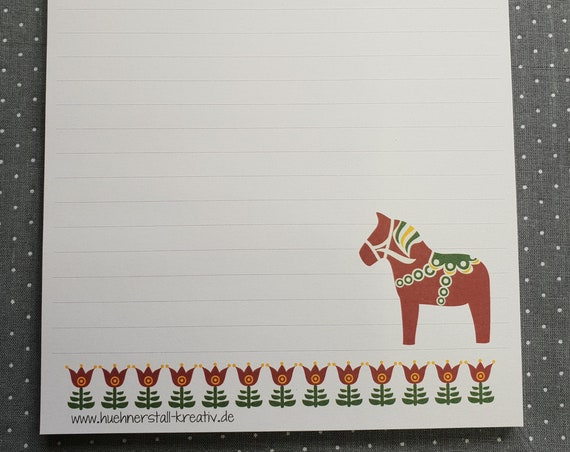 Notepad DIn A5/Dala/lintued/Writing Block/Illustration/Print