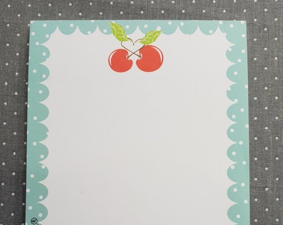 Notepad Din A6/Cherries/Fruit/Writing Block/Illustration/Print