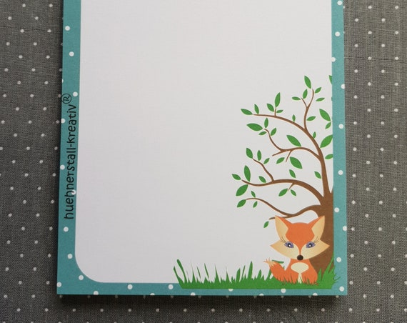 Notepad Din A6/Fox/Writing Block/Illustration/Print