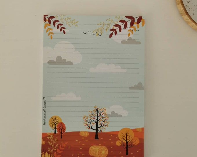 Notepad / Writing Pad / Shopping List / Din A5 / Drawing / Illustration / Print / Paper / Lined / Stationery / Autumn / Trees