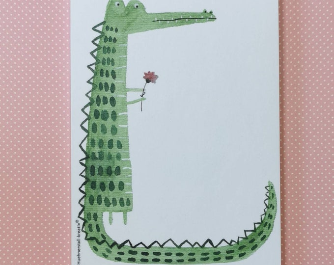 Notepad Din A6 / Crocodile / Alligator / Writing Pad / Illustration / Print / Note / Watercolor