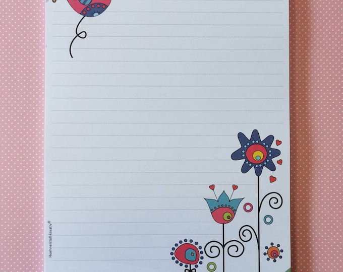 Notepad / Writing Pad / Shopping List / Din A5 / Drawing / Illustration / Print / Note / Lined / Stationery