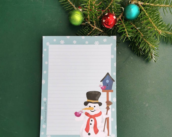 Notepad / Writing Pad / Christmas / Din A5 / Drawing / Illustration / Print / Note / Lined / Stationery / Snowman