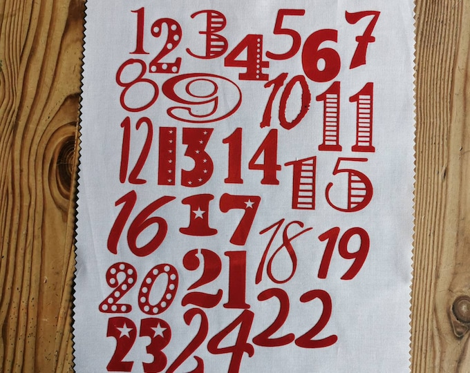 Numbers for the Advent calendar to iron on