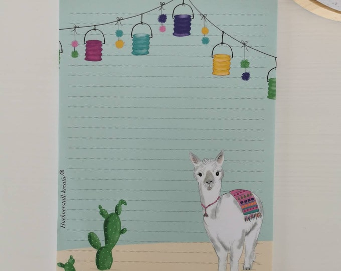 Notepad / Writing Pad / Shopping List / Din A5 / Drawing / Illustration / Print / Note / Lined / Stationery / Lama / Alpaca