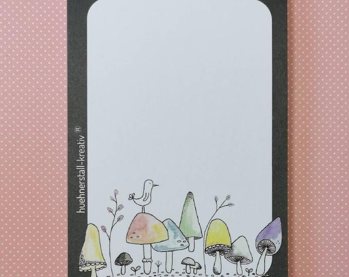 Notepad Din A6 / Mushroom / Toadstool / Mushrooms / Illustration / Print / Writing Pad / Notes / Notes