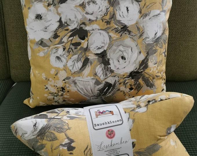 Reading bones / reading pillows / pillowcase / pillows / side sleepers / relaxation / backrest / reading / neck pillows / roses / vase / yellow