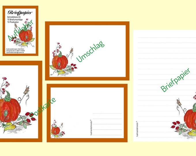 Stationery / Writing Paper / Letterset / Postcard / Envelope / Illustration / Watercolor / Writing Pad / Writing Paper / Halloween