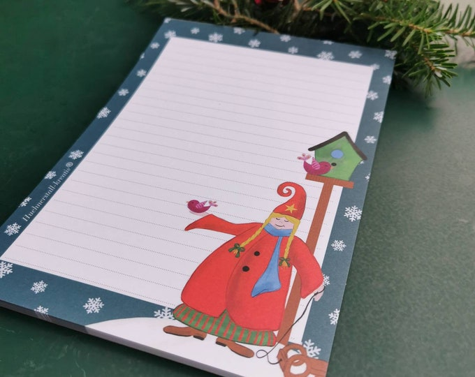Notepad / Writing Pad / Christmas / Din A5 / Drawing / Illustration / Print / Note / Lined / Stationery / Wichtel /Winter