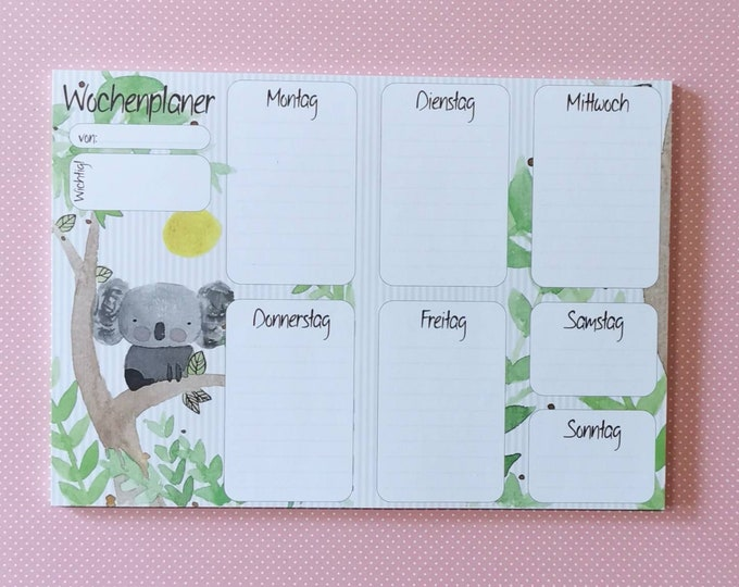 Weekly Planner Din A5 / Notepad / Koala / Illustration / Print / Bullet Journal / Note / Writing Block / Calendar