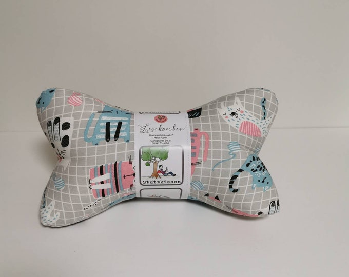 Reading Bones / Reading Pillows / Pillows / Side Sleepers / Relaxation / Back Support / Reading / Neck Pillows / Cats / Graphic Pattern / Grey