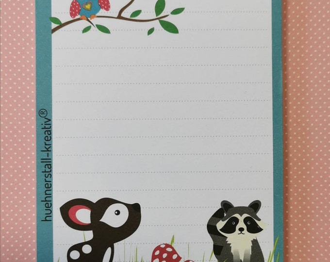 Notepad Din A6 / Forest / Deer / Owl / Raccoon Writing Pad / Illustration / Print / Note / Lined