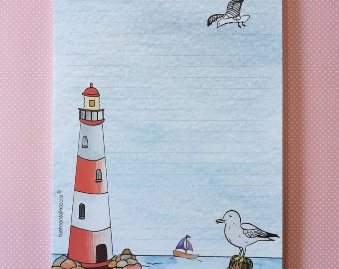 Notepad / Writing Pad / Shopping List / Din A5 / Drawing / Illustration / Print / Note / Lined / Stationery / Sea / Lighthouse