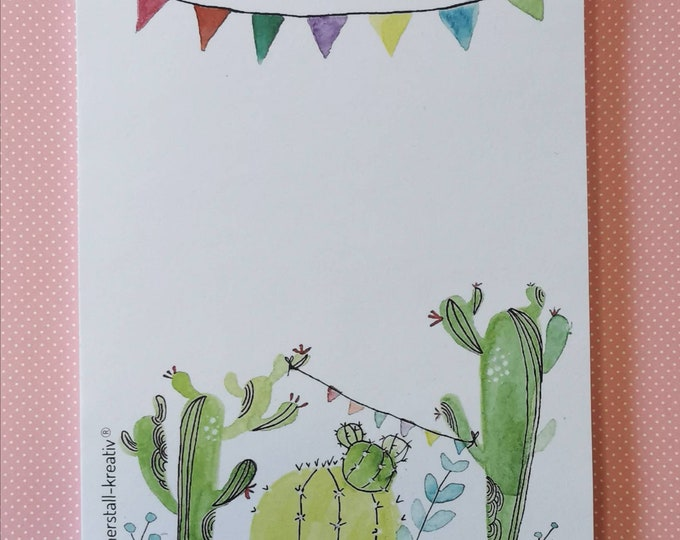 Notepad / Writing Pad / Shopping List Din A5 with Cactus / Cacti / Drawing / Illustration / Print / Note / Unlined
