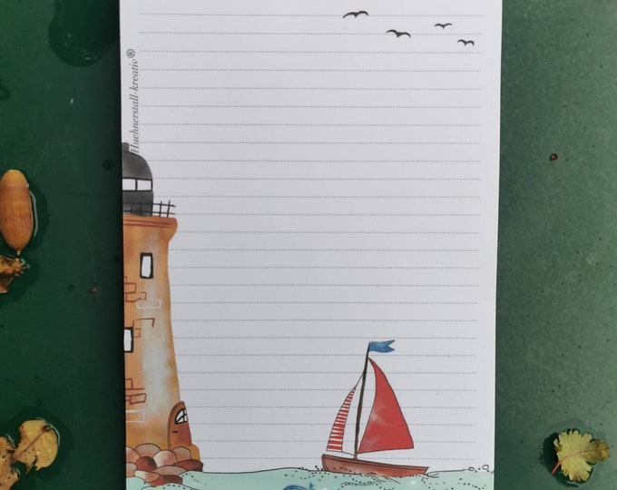 Notepad / Writing Pad / Shopping List / Din A5 / Watercolor / Illustration / Note / Lined / Stationery / Lighthouse / Maritim
