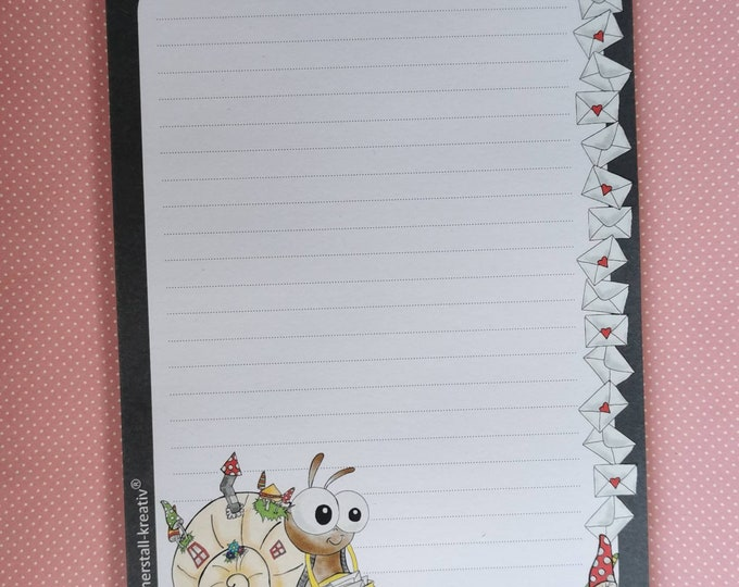 Notepad / Writing Pad / Shopping List / Din A5 / Drawing / Illustration / Print / Note / Lined / Stationery / Snail / Post